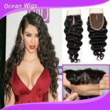Закрытие 100% оптовых глубоких волос Remy девственницы волны Silk верхнее