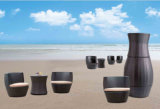 Pátio ao ar livre ajustado Three-Piece do jardim da tabela de chá da cadeira de imitação do Rattan