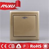 CER LED Surface Mounting Golden 86*86size Electric Wall Switch