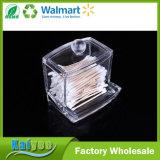 Rectángulo claro del envase del organizador del almacenaje de compartimiento del sostenedor del palillo de las esponjas de algodón del maquillaje del ABS