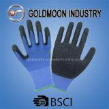 черный латекс 13G покрыл голубые перчатки работы безопасности полиэфира