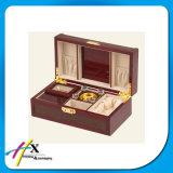 Contenitore di monili di legno di cuoio personalizzato dell'unità di elaborazione con il rivestimento del velluto