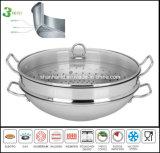 Wok d'acier inoxydable du corps 3ply avec la batterie de cuisine de vapeur