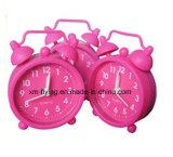 Часы колокола близнеца будильника Multi-Color силикона детей украшения дома миниые