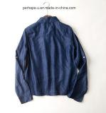 Qualitäts-Revers-Denim-Wolljacke-Bluse Voll-Hülse Hemden