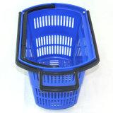 Panier à provisions en plastique de roulement de supermarché avec quatre roues Zc-9