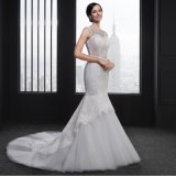Ivory Lace Appliques Crystal Sexy Mermaid Wedding Dress (SL010)