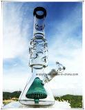 Niedriger Becher Hb-K70 Perc doppeltes Kegel-Form-rauchendes Wasser-Inline-Glasrohr mit 3 Teilen 9 Eis-Kerben