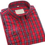 Chemises de coton minces d'ajustement de plaid de Mens chemise occasionnelle de chemises de longue