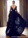 V черноты мантий выпускного вечера шнурка ворота платье вечера Yao128 официально Hi-Низкое короткое