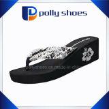 여자의 플래트홈 높은 쐐기(wedge) 발뒤꿈치 플립 플롭 인쇄된 바닷가 Slipers