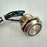 방수 19mm Piezo 스위치 IP68를 걸쇠를 거는 스테인리스 316L 24V 파란 반지 LED