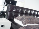 رف غرفة نوم أثاث لازم حديثة مزدوجة ملكة جلد سرير ليّنة