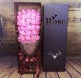 Flor de encargo de lujo de la cartulina de la flor de Rose del festival de la venta caliente/rectángulo de papel del regalo con la tapa
