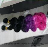 Flip объемной волны синтетических волос 1b/Blue /Pink Weft в утке волос
