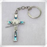 OEM/ODM 카톨릭교 그리스도 수난상 (IO-CK064)를 가진 교차하는 열쇠 고리 열쇠 고리