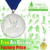Custom all'ingrosso Gold/Silver/Bronze Engraving Medal con Ribbon