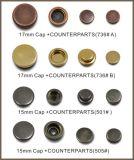 Presse instantanée en alliage de zinc de bouton du modèle 2016 neuf sur des vêtements