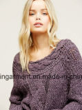 Knitwear Джерси кабеля Hotsales женщин классицистический (W17-696)