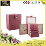 Коробка ювелирных изделий Multi хранения слоя большого квадратного организуя кожаный