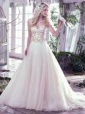 Золото отбортовывает платье венчания S17314 втулок Bridal Organza мантий длиннее