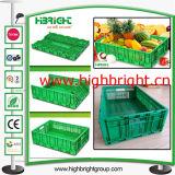 Caixa plástica da logística do transporte para legumes frescos e frutas do supermercado