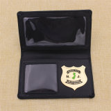 Custom Officer Metal Police Badge com titular de carteira de couro genuíno