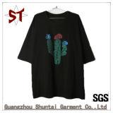 Camiseta 100% de la funda del cortocircuito del ocio de la manera del algodón para las mujeres con la impresión