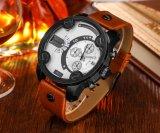 Cagarny 6819メンズ腕時計の水晶動きの革バンドの黒のケース