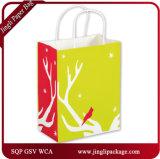 光輝の買物客のハンドルが付いているギフト袋を詰める袋を包むRscによって印刷される白いクラフトの紙袋
