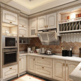 Weißes Painting Oak Solid Wood Kitchen Cabinet mit Natural Stone Countertop