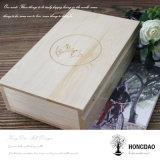 Hongdao personalizou o álbum de madeira Box_E do USB da foto do presente do ofício do casamento