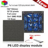 Varredura impermeável ao ar livre do módulo 1/8 do diodo emissor de luz da cor cheia de P6 IP65 SMD 192 * 192 milímetros para a tela de indicador do diodo emissor de luz