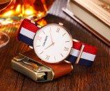 Fabric Nylon Reloj de pulsera de oro de acero inoxidable IP plateado hebilla