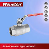 2PC Stainless Steel Full Bore Ball Valve M3 Type 1000wog