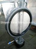 Válvula de mariposa de la oblea del disco del acero inoxidable CF8 con el engranaje de gusano