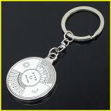 銀によってめっきされる円形およびハート形の合金の写真フレームのキーホルダー