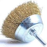 Cepillo prensado de la taza de la potencia del alambre de acero con el eje