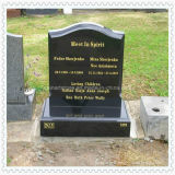 Black Granite Tombstone Monument with Heart