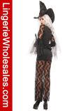 Costume ведьмы мантии шнурка сексуальных женщин черный для партии Halloween