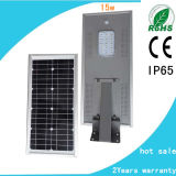 Luz de rua solar Integrated contra-roubo do diodo emissor de luz 15W