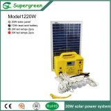 Sistema Solar portable de la apagado-Red 20W para el hogar con 6 lámparas