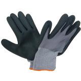 Gant ultra-mince de travail de poignée de gants de nitriles de mousse enduit par revêtement en nylon