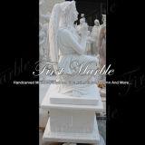 Pierre tombale blanche commémorative Mem-084 de Carrare de granit en pierre de marbre