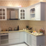 Natural Stone Countertop를 가진 백색 Painting Oak Solid Wood Kitchen Cabinet