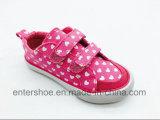 Sapatas de lona mágicas do coração da cor-de-rosa da fita para as meninas (ET-LH160279K)