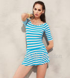 Swimwear юбки Tankini нашивки шеи Половин-Втулок круглый