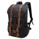 Satchel ocasional de Bookbag da mochila da trouxa do ombro do couro do vintage do Schoolbag da lona que caminha o saco