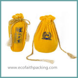 Saco do malote do Drawstring do vinho de veludo com Tassels