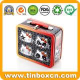 Metallgeschenk-Kasten mit Griff-Zinn-Behälter, Mittagessen-Zinn